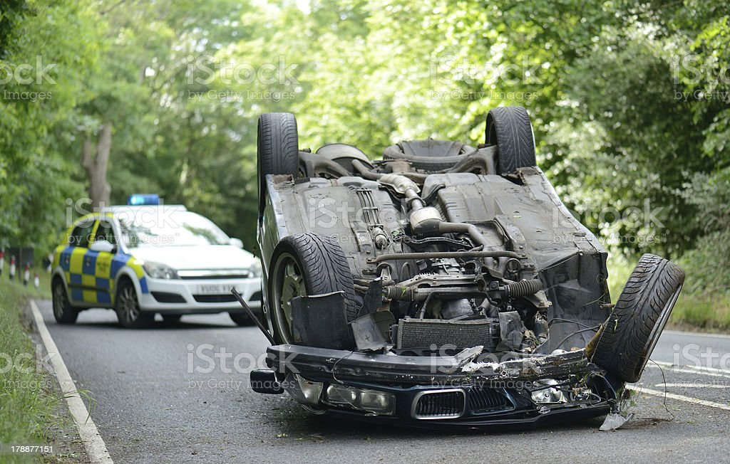 upside down car stock photo