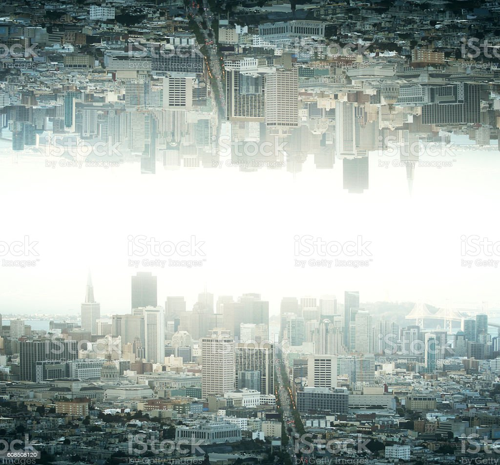 Upside down city - foto de stock