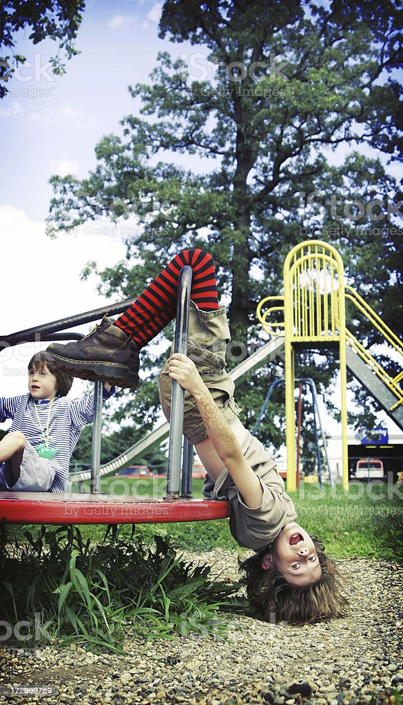 Upside Down Clown- Wild Child on Merry Go Round stock photo