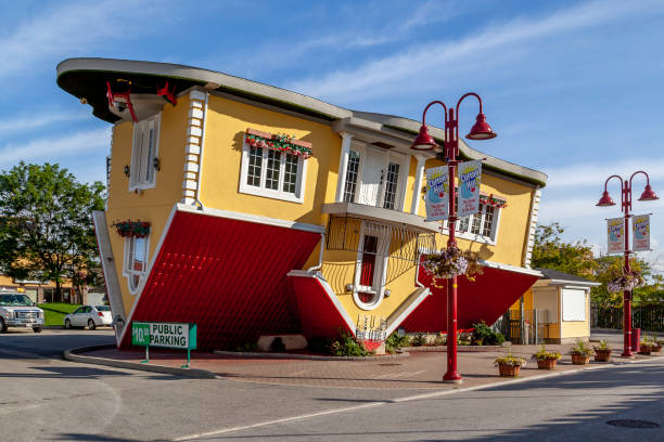Upside Down House on the Clifton Hill in Niagara Falls, Ontario, Canada. stock photo