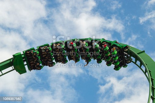 This is The Hulk roller coaster at Universal Studios Islands of Adventure.  We made a quick stop while we were in Orlando. This coaster is pretty short but it has lots of twists and turns including some upside-down loops.  I liked this shot because of the cloudy blue sky in the background against the bright green of the track.