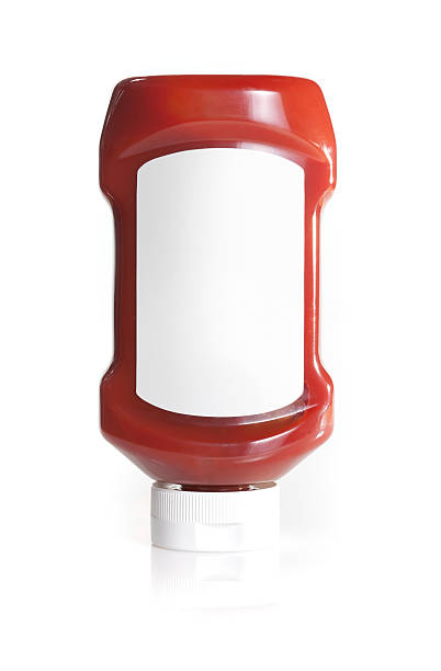 upside down ketchup bottle with blank lable - ketchup bottle stock photos and pictures