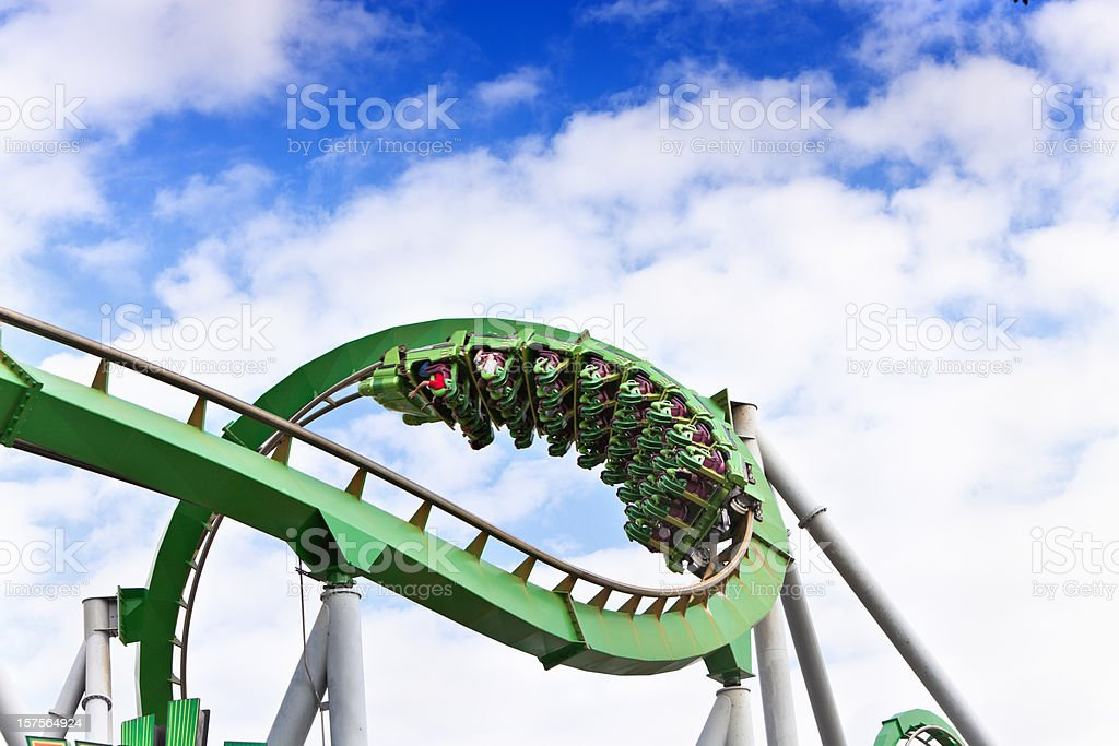Upside down on a rollercoaster stock photo