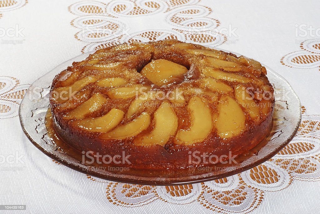 upside down pear cake stock photo