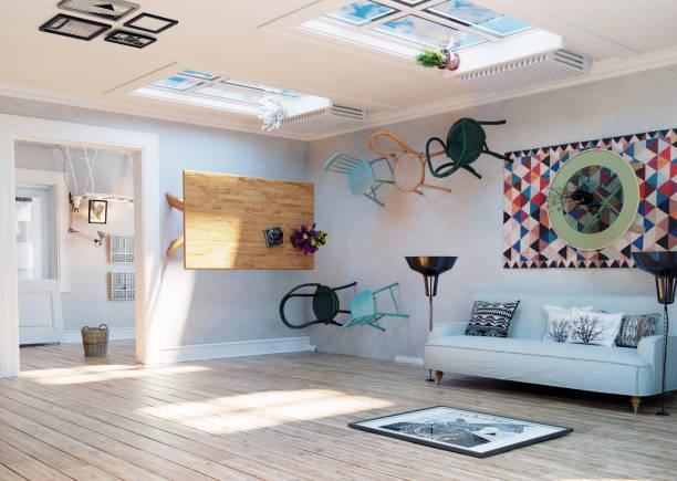 upside down room interior. - surrealistyczny zdjęcia i obrazy z banku zdjęć