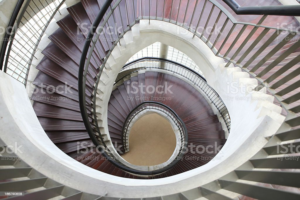 Upside view of a spiral staircase stock photo