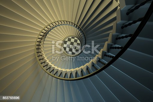 istock Upside view of a spiral staircase 853765696