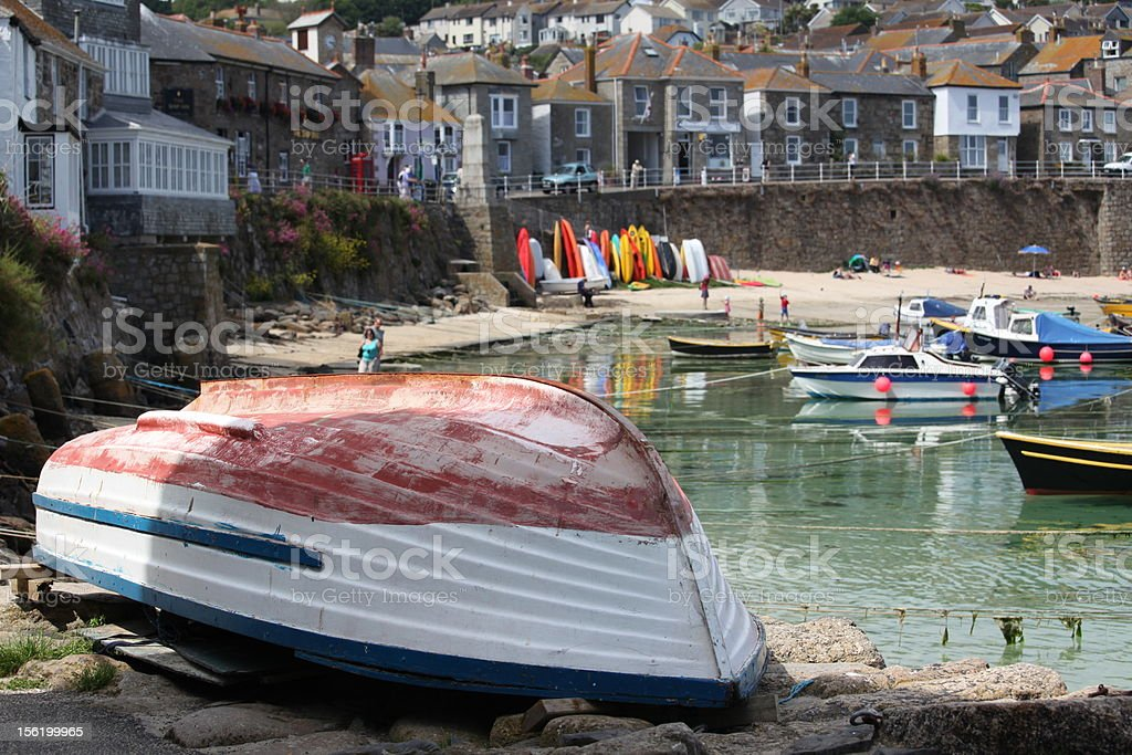 Upturned Boat at Mousehole, Cornwall stock photo