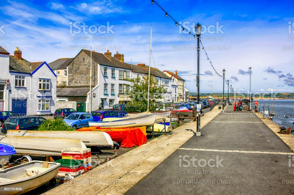 Upturned boats on the waterfront at Appledore in Devon UK stock photo