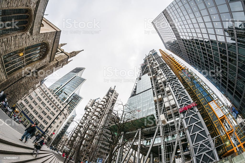 Upward 360 Degree View Of Skyscrapers In London, England royalty-free stock photo