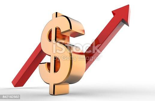 istock Upward growth arrow with 3d dollar symbol sign. Economic growth concept. 3d illustration. 842162552
