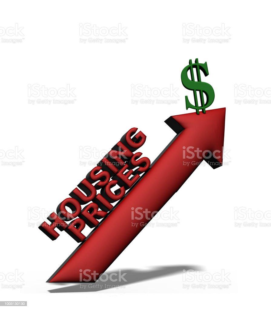 Upward housing prices stock photo