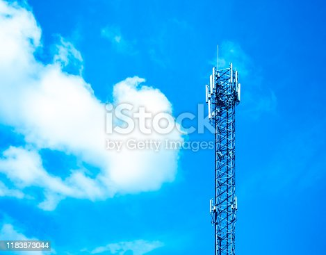 1145453438istockphoto upward of Communication Radio antenna Tower , microwave antenna tower on blue sky background 1183873044