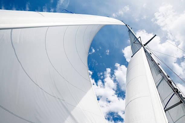 weiße segel - segeln stock-fotos und bilder