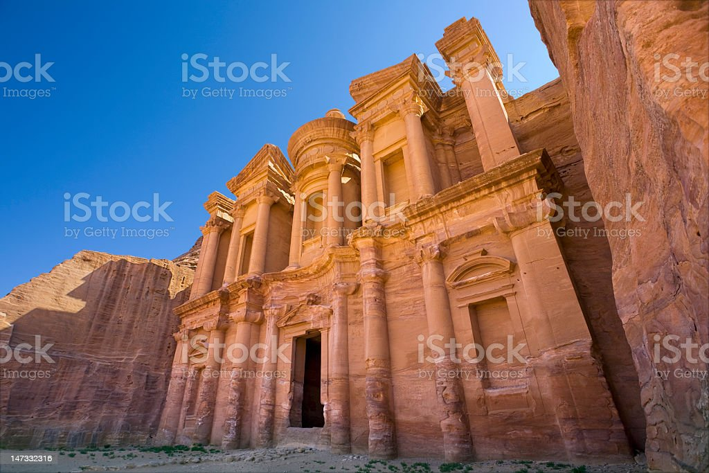 Upward view of a monastery under a blue sky royalty-free stock photo