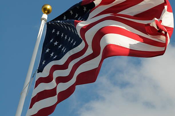 위쪽으로 미국 플래깅 보기 - columbus day 뉴스 사진 이미지