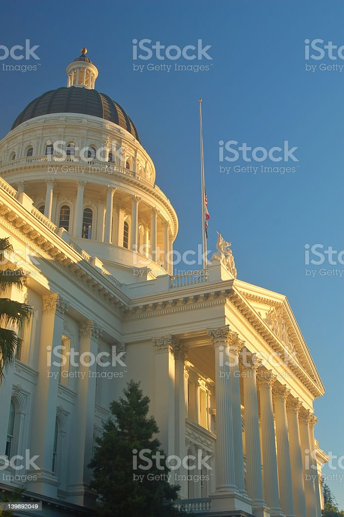 Upwards view of California Capitol building in low sun stock photo