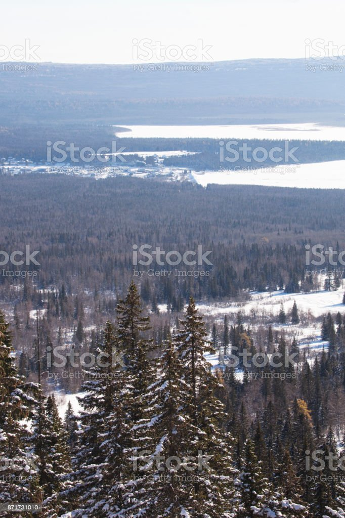 Ural forest. Lake Zyuratku, winter landscape. stock photo