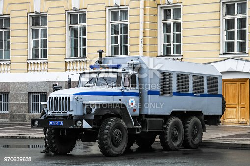 Saint Petersburg, Russia - May 26, 2013: Police truck Ural 4320 in the city street.