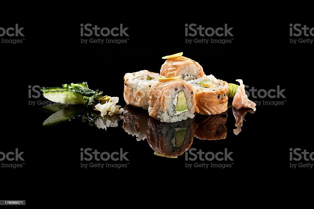 Uramaki sea-bream tataki stock photo