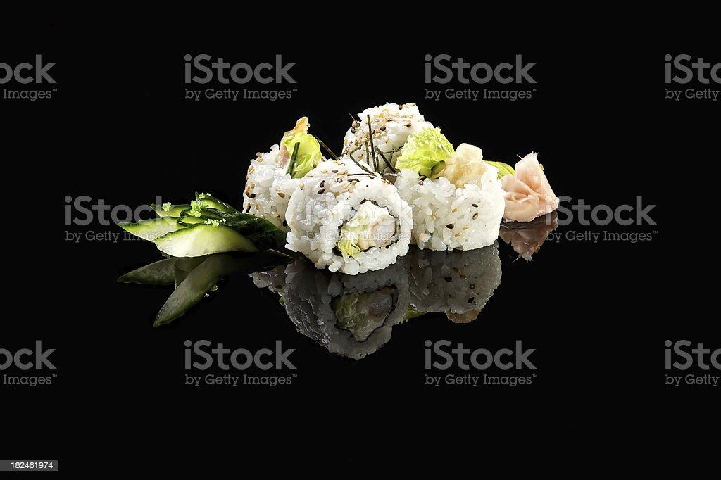 Uramaki Shrimp and Tempura royalty-free stock photo