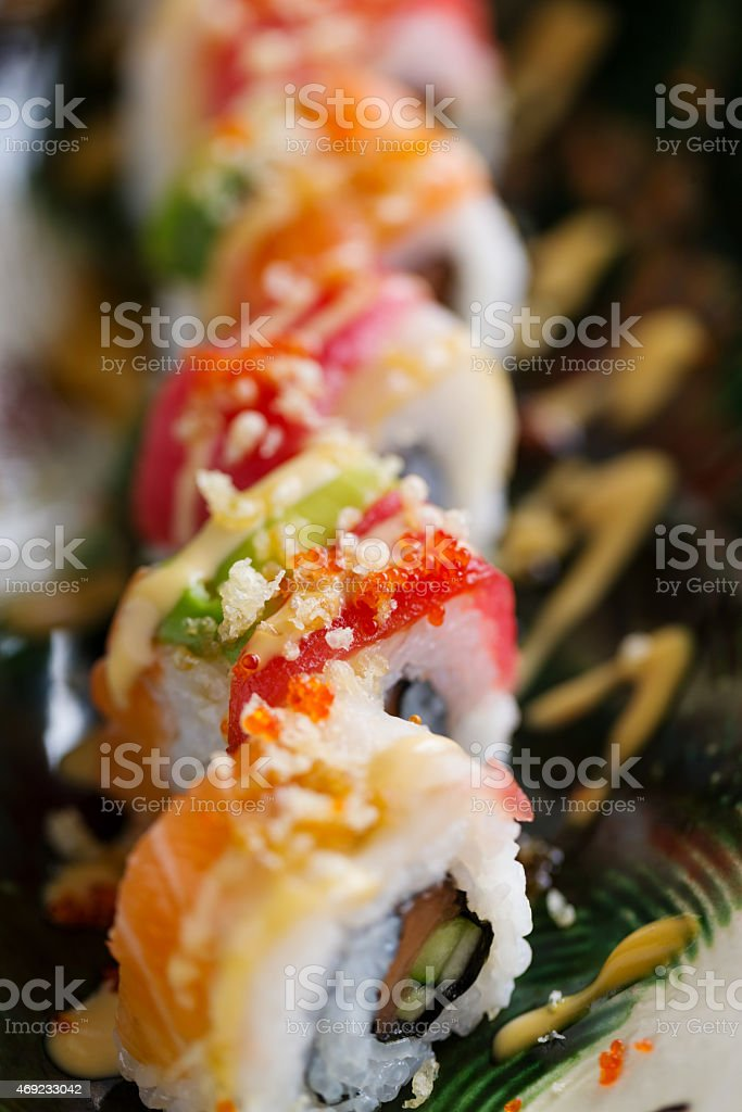 Uramaki sushi - California rolls sushi stock photo