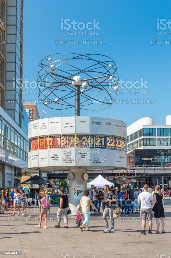 Urania World Clock at Alexanderplatz. stock photo