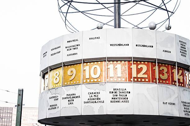 urania worldclock (atomic test ban treaty) in berlin - weltzeituhr stock-fotos und bilder