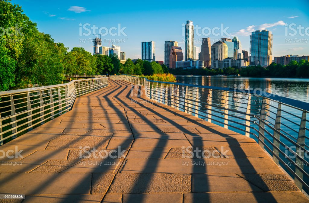 Urban abstract shadows draw lines in the Modern Austin , Texas , USA Abstract Skyline Cityscape stock photo