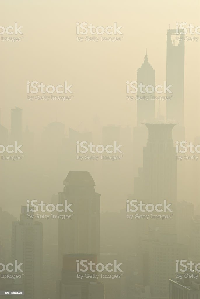 Urban air pollution and the Shanghai skyline royalty-free stock photo