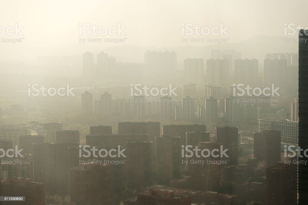 Urban air pollution stock photo