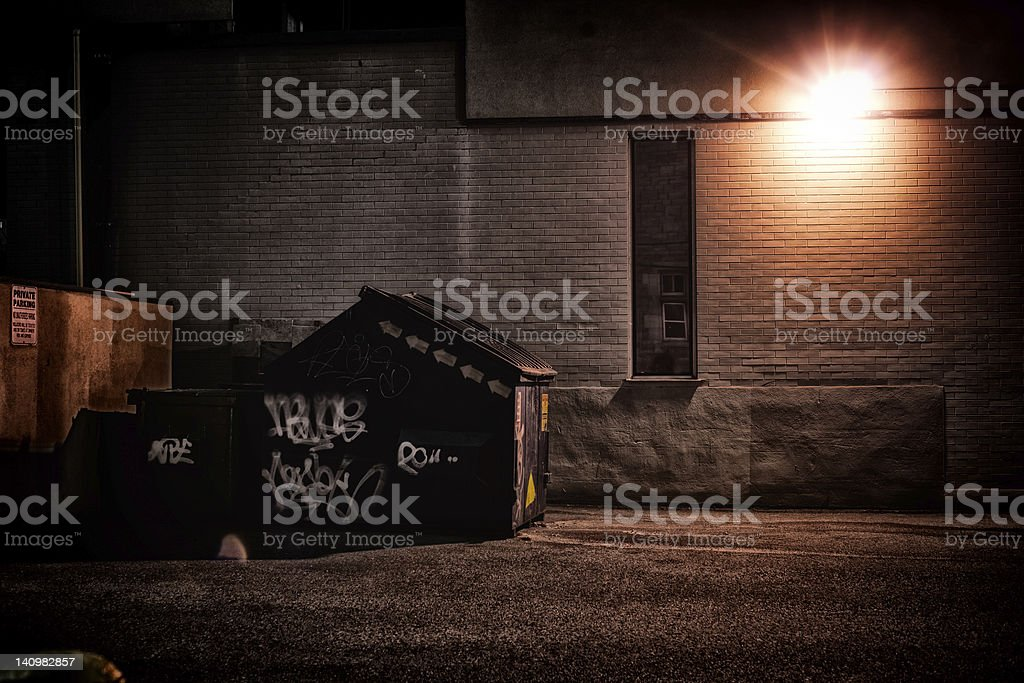Urban Alley at Night stock photo