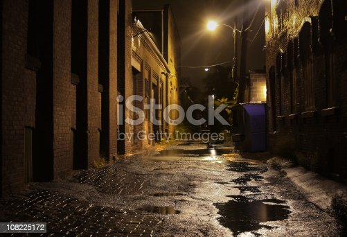 istock Urban Alleyway with Puddles at Night 108225172