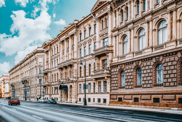 Urban and historically beautiful city views of Saint Petersburg. Russia. stock photo