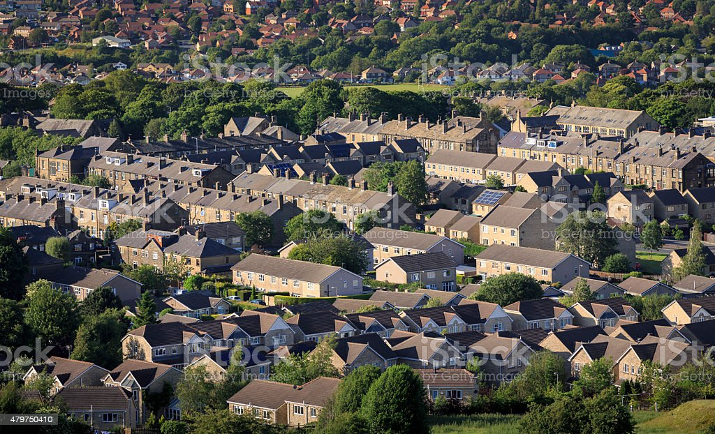 Urban and suburban houses in Bradford, Yorkshire stock photo