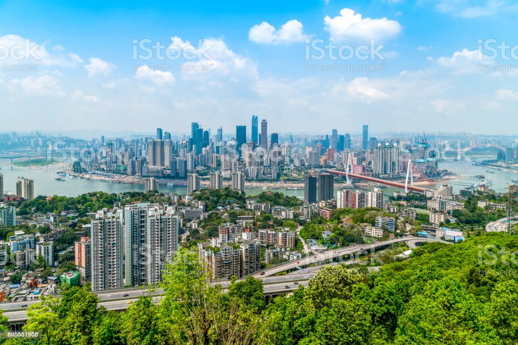 Urban architecture and skyline of Chongqing stock photo