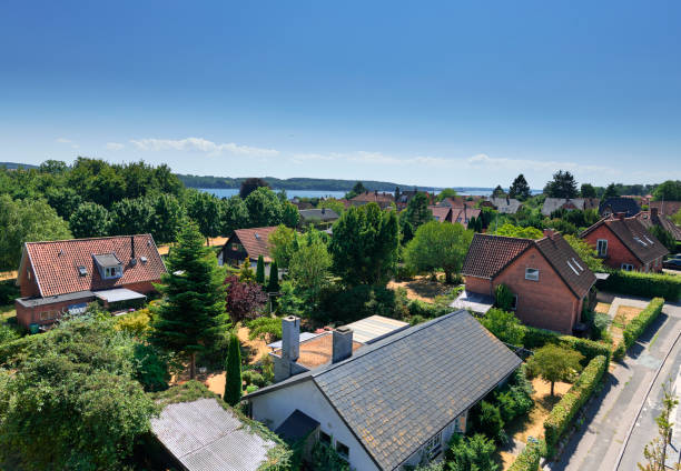 Urban area in Svendborg with detached houses stock photo