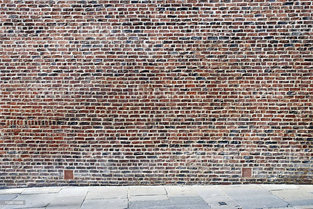 Urban Background Uk Red Brick Wall With Sidewalk Stock Photo More