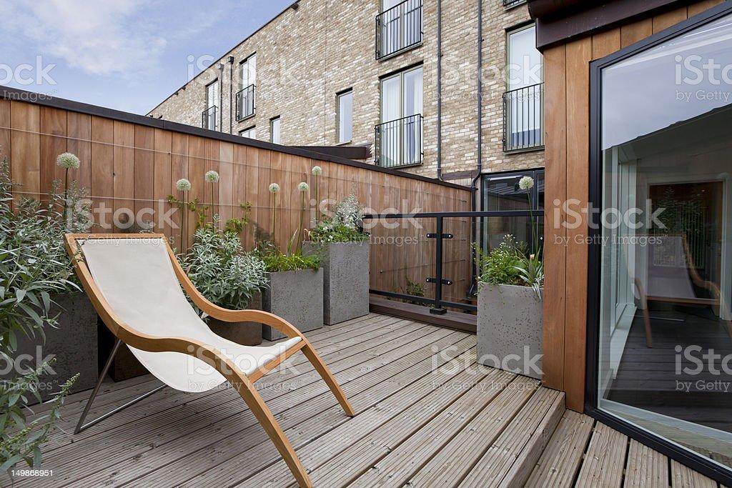 Urban balcony garden stock photo