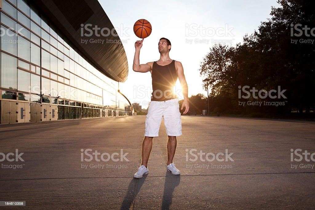 Urban basketball player with his basketball