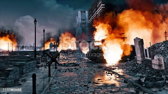 Urban battlefield scene with ruined city buildings and burning WWII tank among empty street at night. With no people historical military 3D illustration from my own 3D rendering file.