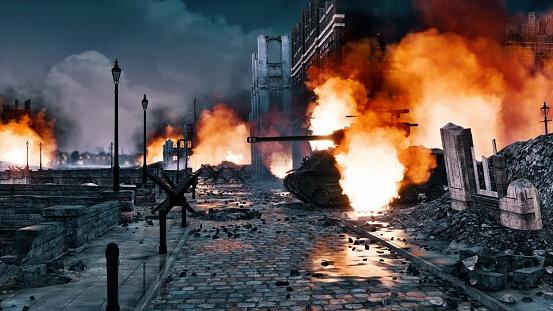 Urban battlefield scene with burning tank at night