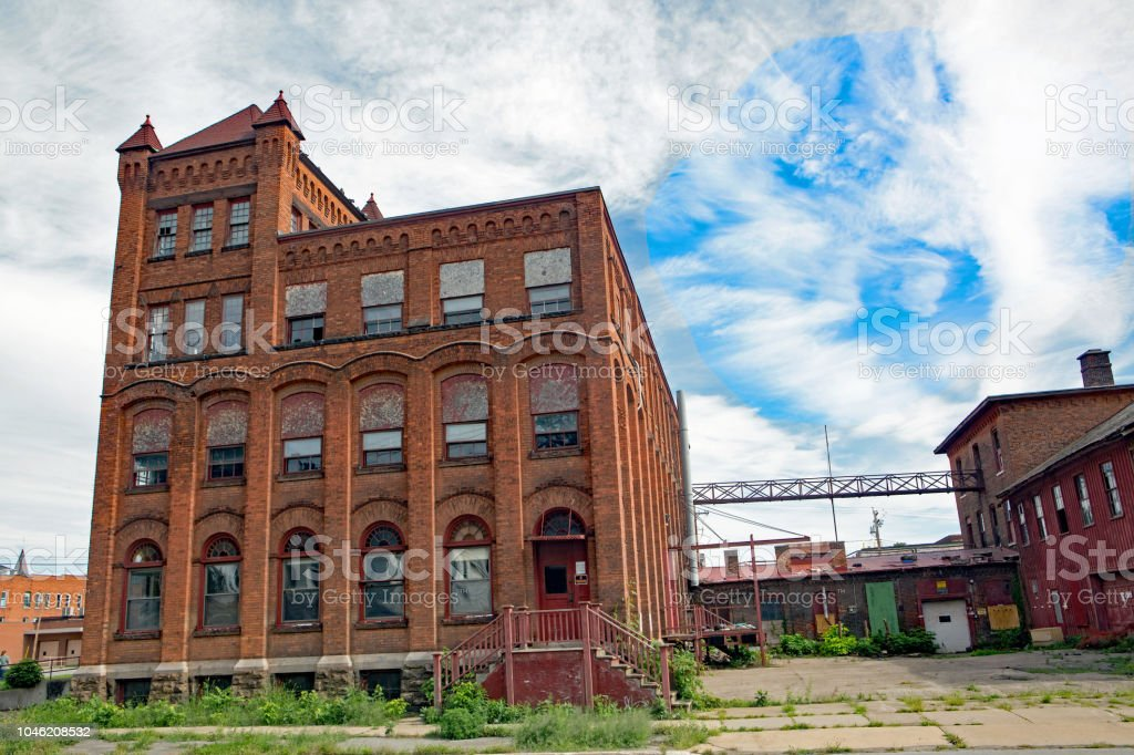 Urban blight -  Condemned  historic building in central New York stock photo