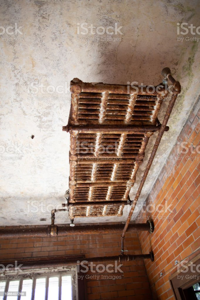 Urban blight -  condemned historic building in Weston, Wv. stock photo