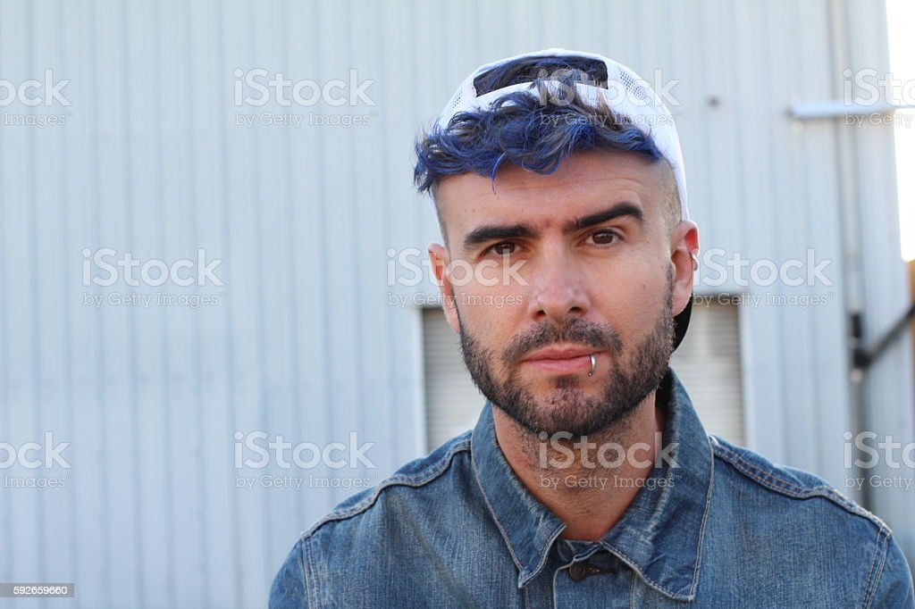 Urban blue hair disco punk fashion style - Photo