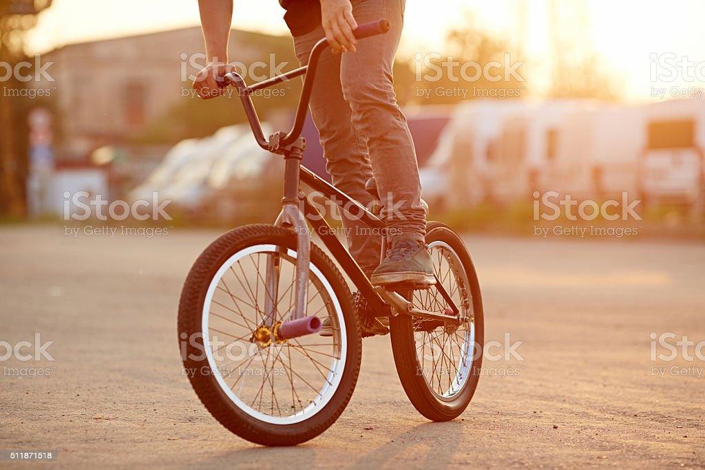 Urban BMX riding stock photo