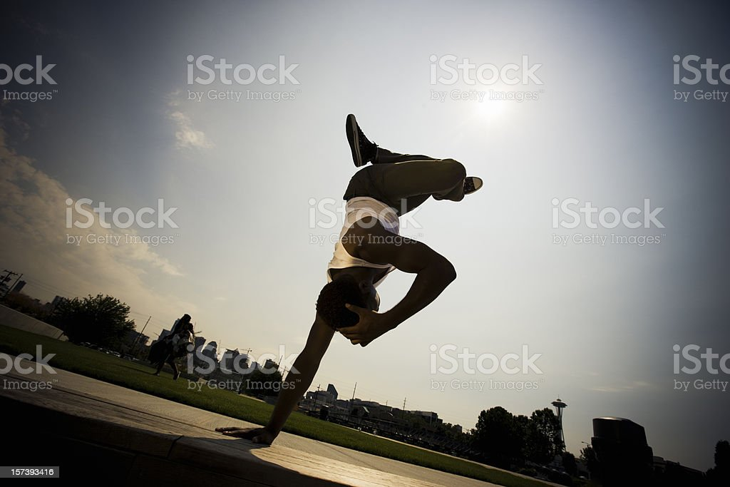 Urban Break Dance Silhouette royalty-free stock photo
