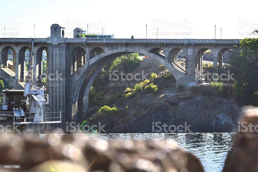 Urban Bridge over the River stock photo
