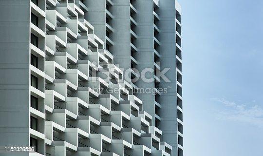 urban building terrace balcony facade in singapore city core area