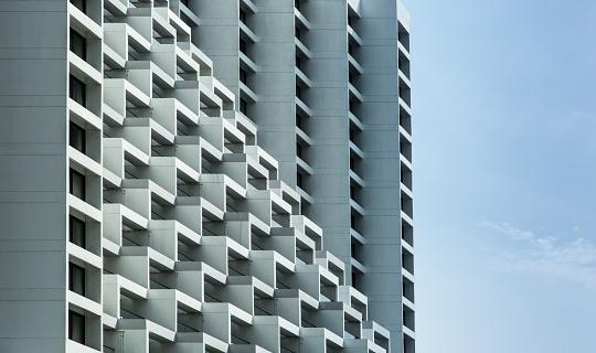 urban building terrace type facade view